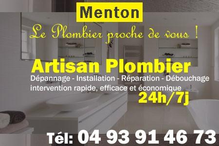 Plombier Menton